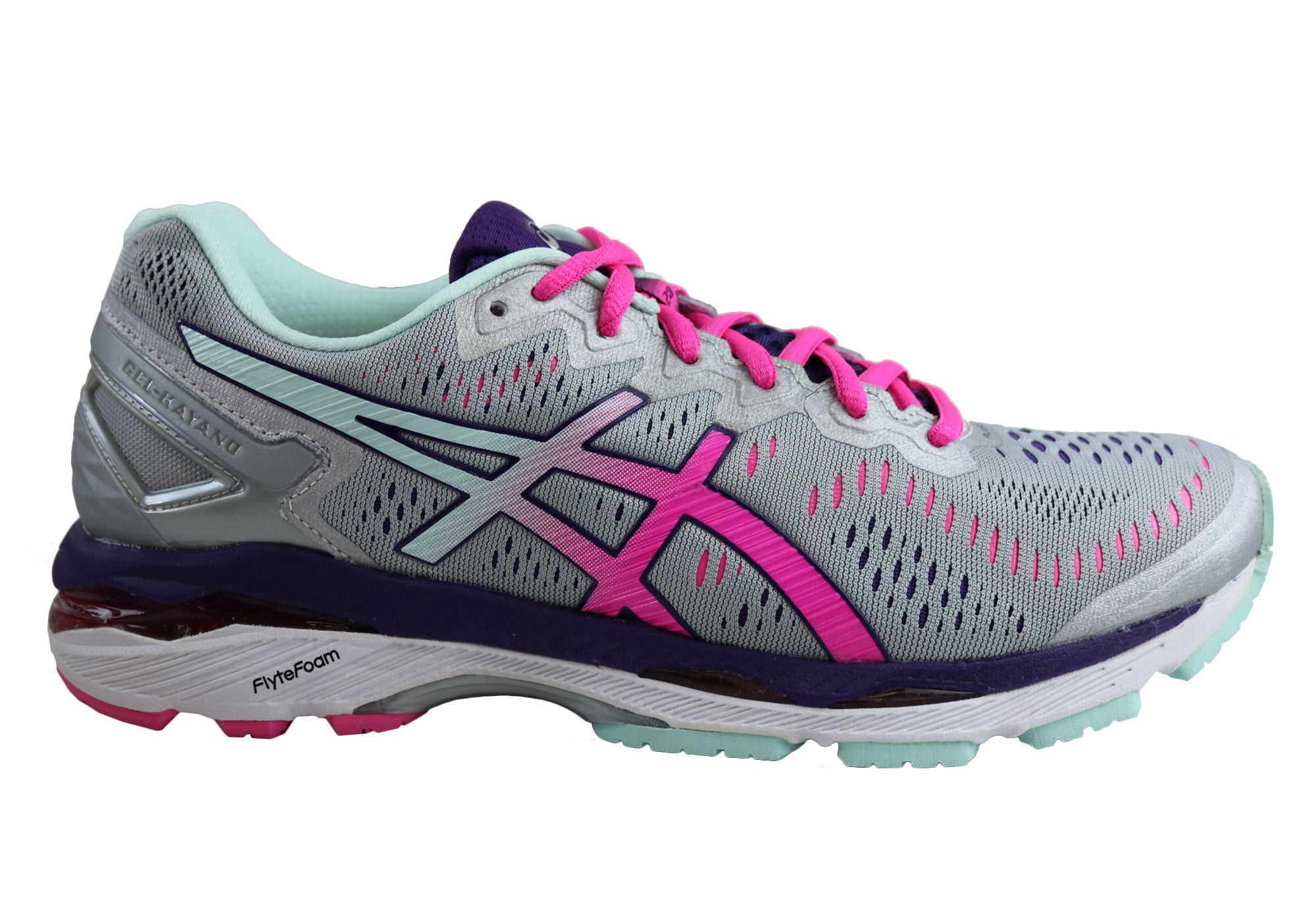 9373cccb703f Home Asics Gel Kayano 23 Wide D Width Womens Premium Cushioned Running  Shoes. Silver Pink Glow Parachute Purple ...