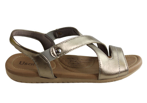 Usaflex Keera Womens Comfort Cushioned Leather Sandals Made In Brazil
