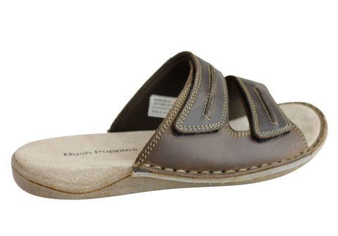 472f08bd4ac Hush Puppies Warrior Mens Comfortable Leather Slip On Sandals ...