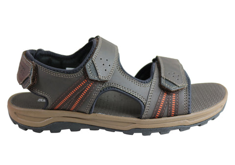 Rockport Mens Comfortable Wide Leather Trail Technique 3 Strap Sandals