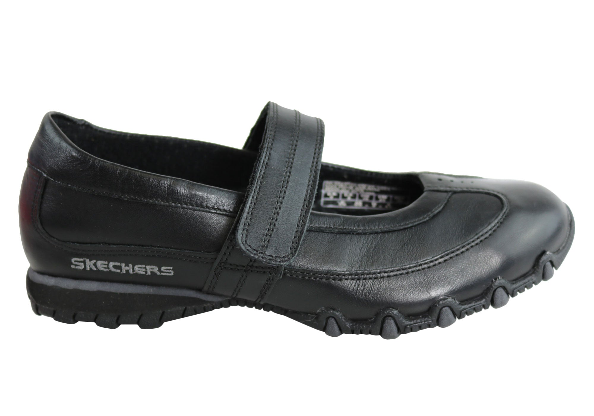Home Skechers Bikers Classic Womens Mary Jane Style Adjustable Strap Shoes.  Black ... ab59d167a573