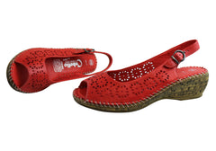 Cabello Comfort Womens Soft Leather Wedges Handmade In Turkey