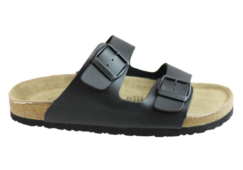 Isabella Brown Cleo Womens Comfortable Contoured Footbed Flat Sandals