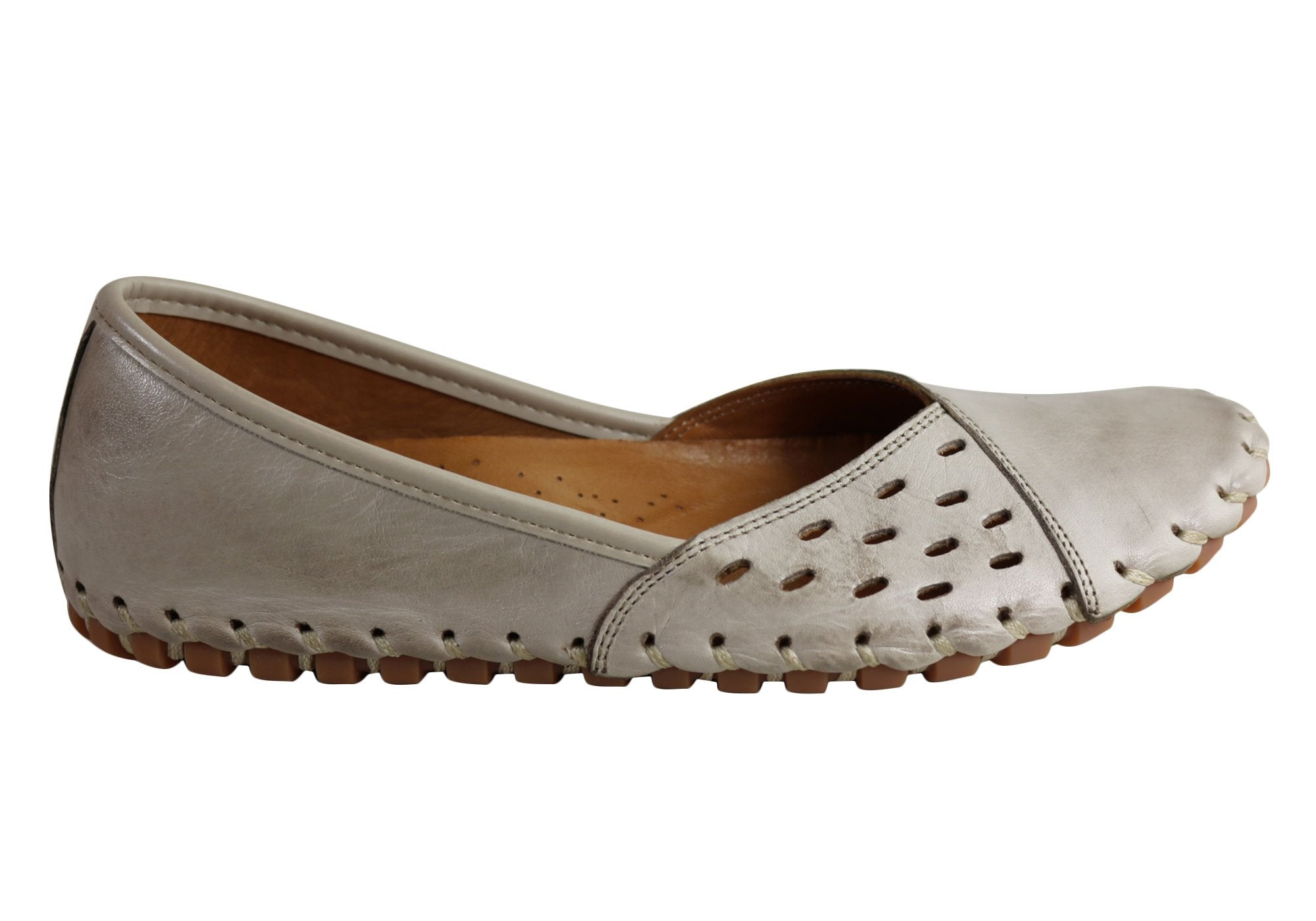 Cabello Comfort Missy Womens Leather Comfort Flat Shoes Made In Turkey