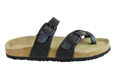 Isabella Brown Cam Womens Contoured Footbed Flat Sandals Thongs