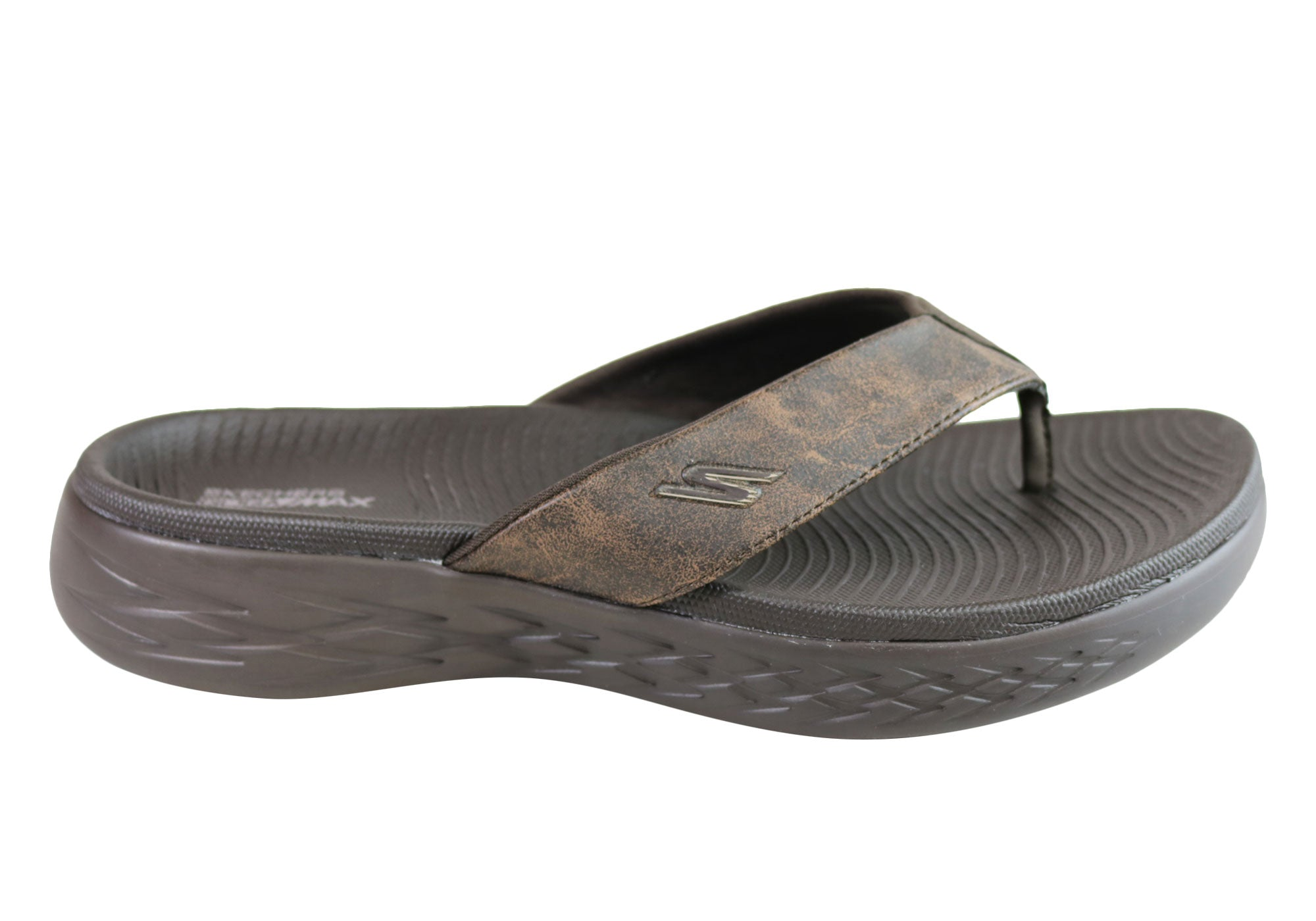 6f54142a3f9d Home Skechers Mens On The Go 600 Seaport Cushioned Comfort Thongs Sandals.  Chocolate ...