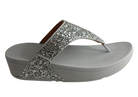 Fitflop Womens Comfortable Lulu Glitter Toe Thongs Sandals