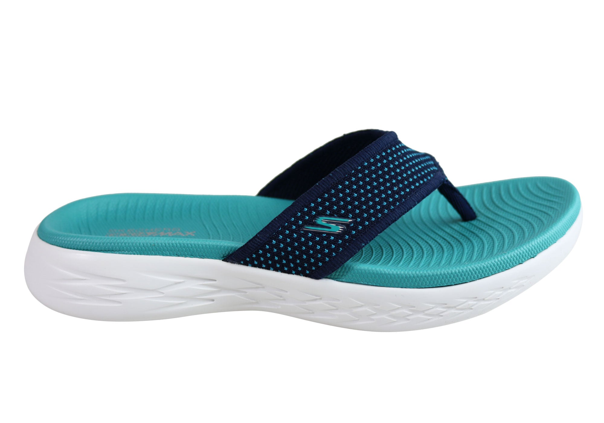 f26cb4e045 Home Skechers Womens On The Go 600 Comfortable Cushioned Lightweight  Thongs. Navy Turquoise ...