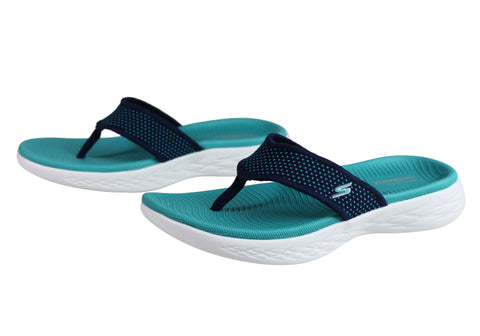7dad4ba9dd Skechers Womens On The Go 600 Comfortable Cushioned Lightweight Thongs