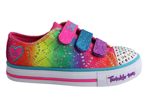 Skechers S Lights Shuffles Rainbow Madness Girls Kids Light Up Shoes