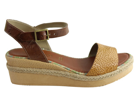 Andacco Zara Womens Brazilian Comfortable Leather Wedge Sandals