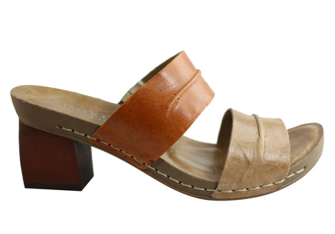 Andacco Meadow Womens Leather Mid Heel Slides Sandals Made In Brazil