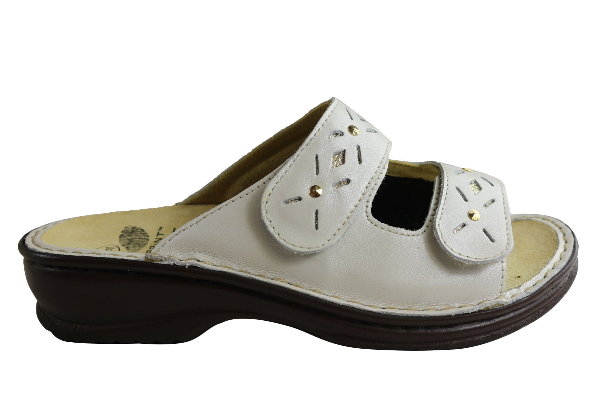 Details about Brand New Scholl Bioprint Joline Womens Comfortable Adjustable Leather Sandals