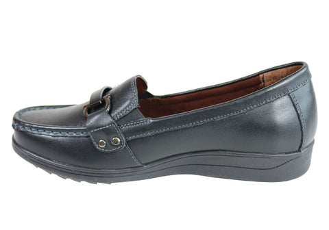 NEW SCHOLL ORTHAHEEL YALE WOMENS COMFORT SUPPORTIVE LEATHER MOCCASIN SHOES