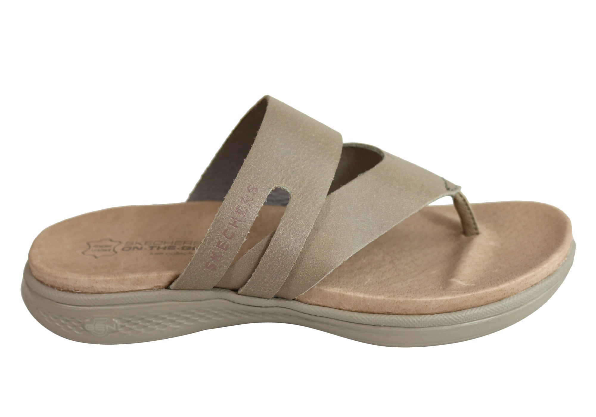 83c9c6af458d Home Skechers Womens On The Go Luxe Comfortable Leather Thongs Sandals.  Taupe ...