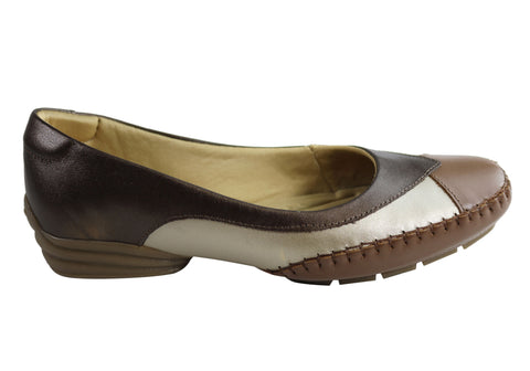 Comfortshoeco Plato Womens Comfort Cushioned Leather Low Heel Shoes