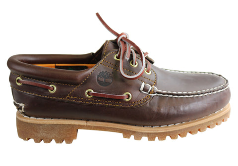 Timberland Mens Leather Authentics 3 Eye Classic Boat Shoes