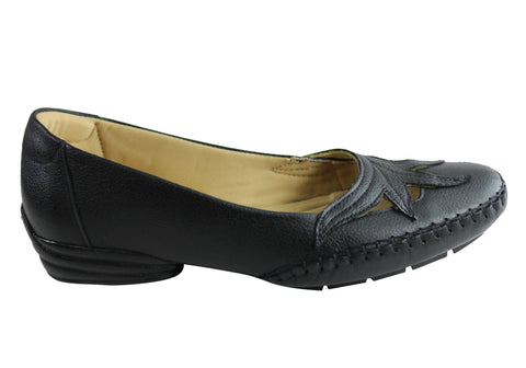 Comfortshoeco Erin Womens Comfort Cushioned Leather Low Heel Shoes