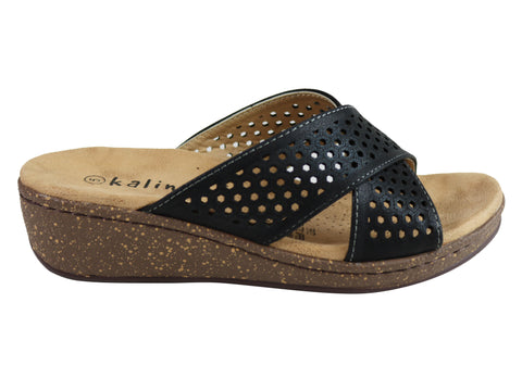 Kalinya Fritz Womens Comfortable Cushioned Low Wedge Slide Sandals