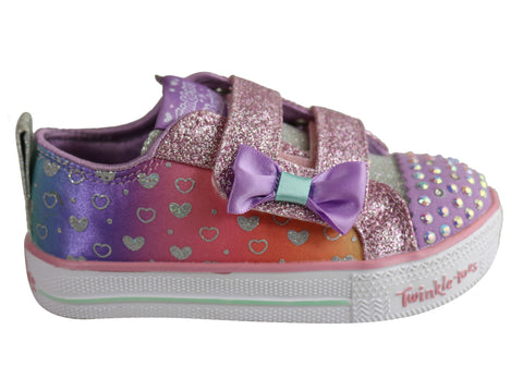 Skechers Infant Girls S Lights Shuffle Lite Sparkly Hearts Shoes