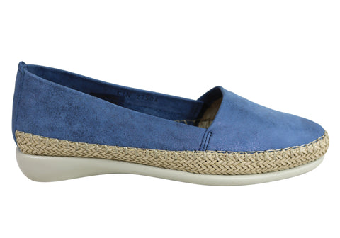 Flex & Go Womens Comfortable Espadrille Leather Flats Made In Portugal