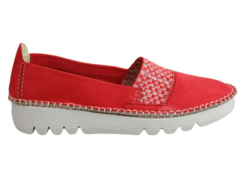 Flex & Go Tavy Womens Comfort Flexible Leather Flats Made In Portugal