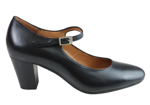 Aerobics Womens Classic Leather Mary Jane Court Shoes Made In Portugal