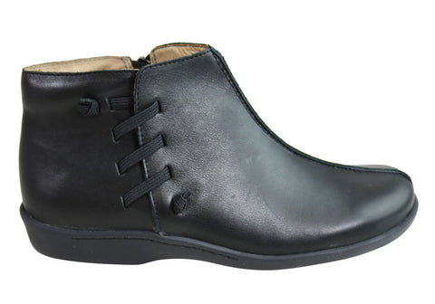 Flex & Go Gladiolus2 Womens Soft Leather Ankle Boots Made In Portugal