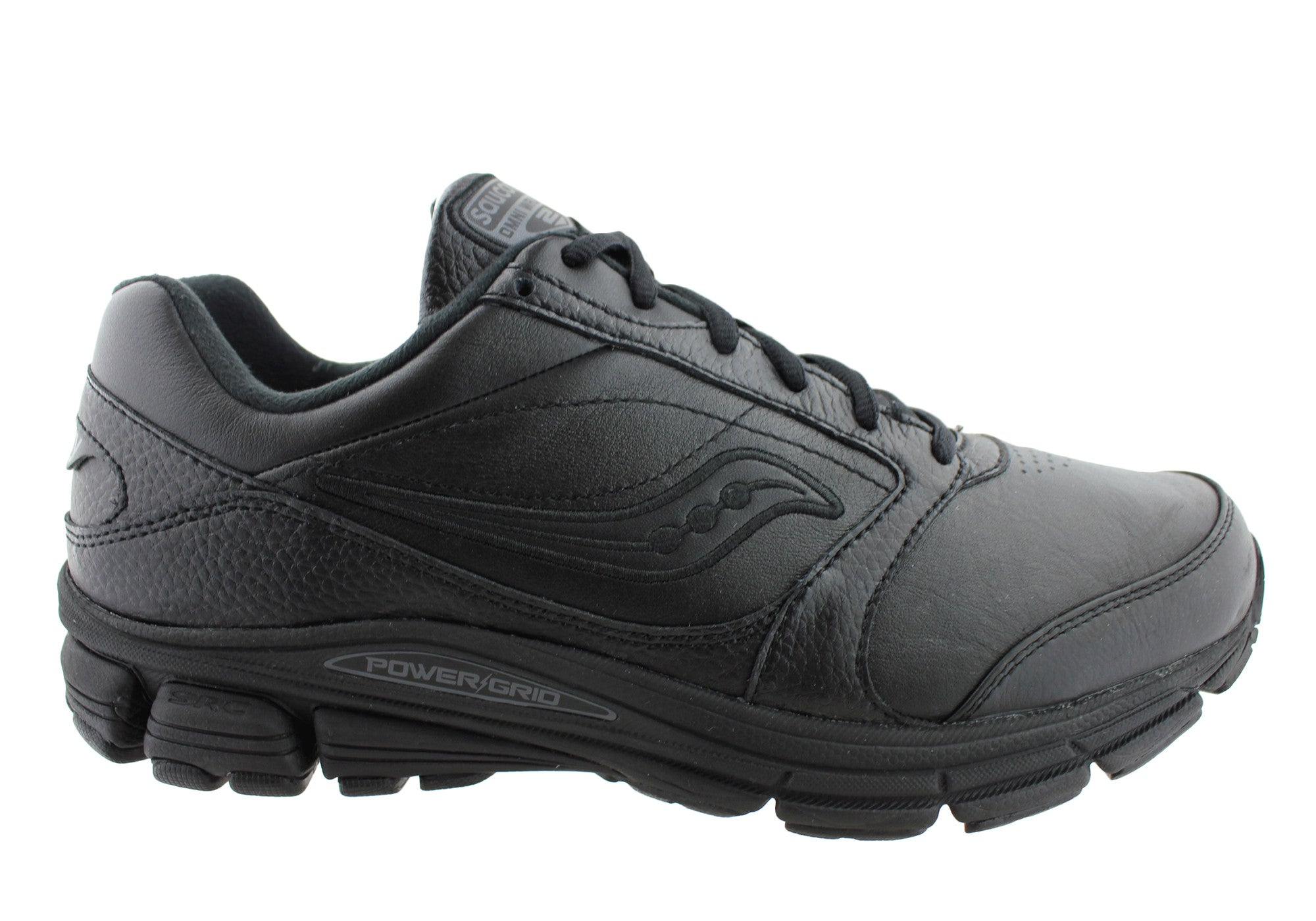 Black Leather Walking Shoes Mens