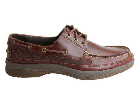 Slatters Steeler Mens Leather Wide Fit Casual Boat Shoes