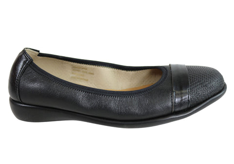 Flex & Go Uver Womens Comfort Leather Ballet Flats Made In Portugal