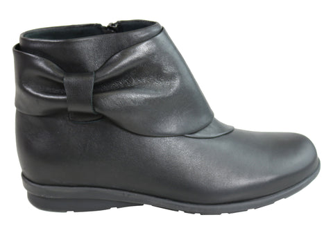 Flex & Go Womens Comfortable Leather Ankle Boots Made In Portugal