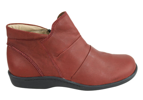 Flex & Go Gaura2 Womens Comfort Leather Ankle Boots Made In Portugal