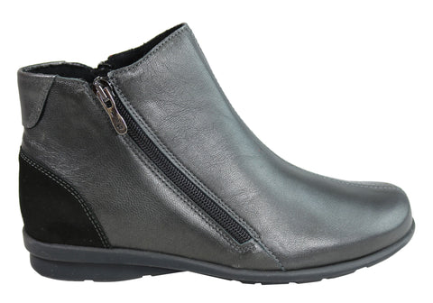 Flex & Go Winnie Womens Comfort Leather Ankle Boots Made In Portugal