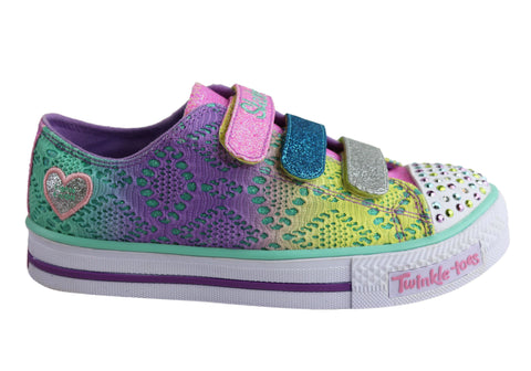 Skechers Girls Kids S Lights Shuffles Raindow Madness