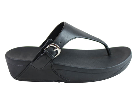 Fitflop Womens Comfort Cushioned Leather Skinny Toe Thong Sandals