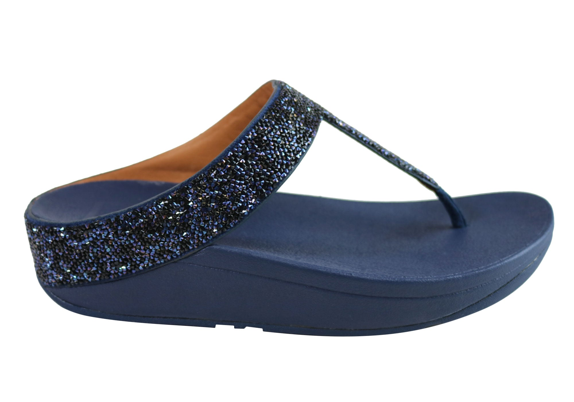 1ef18354d Home Fitflop Womens Fino Quartz Toe Post Comfort Cushioned Thongs Sandals.  Navy ...