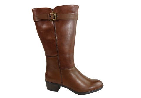 Natural Comfort Athens Womens Comfort Leather Low Heel Mid Calf Boots