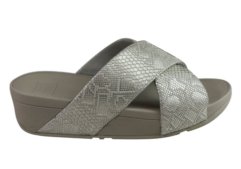 Fitflop Womens Exotic Lulu Slide Cushioned Leather Slide Sandals