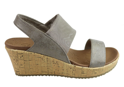 Skechers Womens Beverlee Moon Glider Luxe Foam Footbed Wedge Sandals