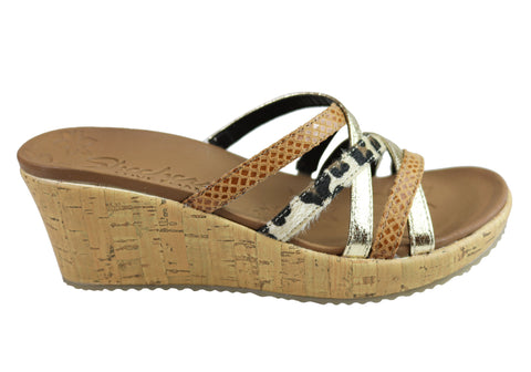 Skechers Womens Beverlee Beach Blast Luxe Foam Footbed Wedge Sandals