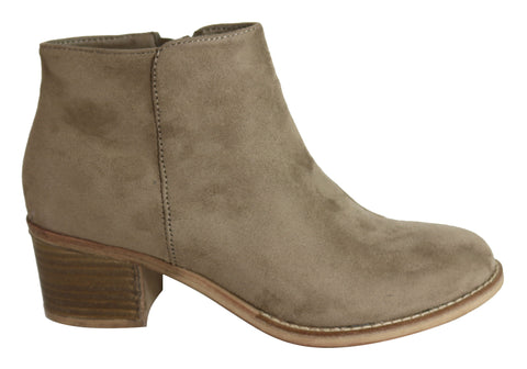 Isabella Brown Ava Womens Comfortable Fashion Low Heel Ankle Boots