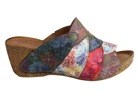 Cabello Comfort Hannah Womens European Leather Wedge Slide Sandals