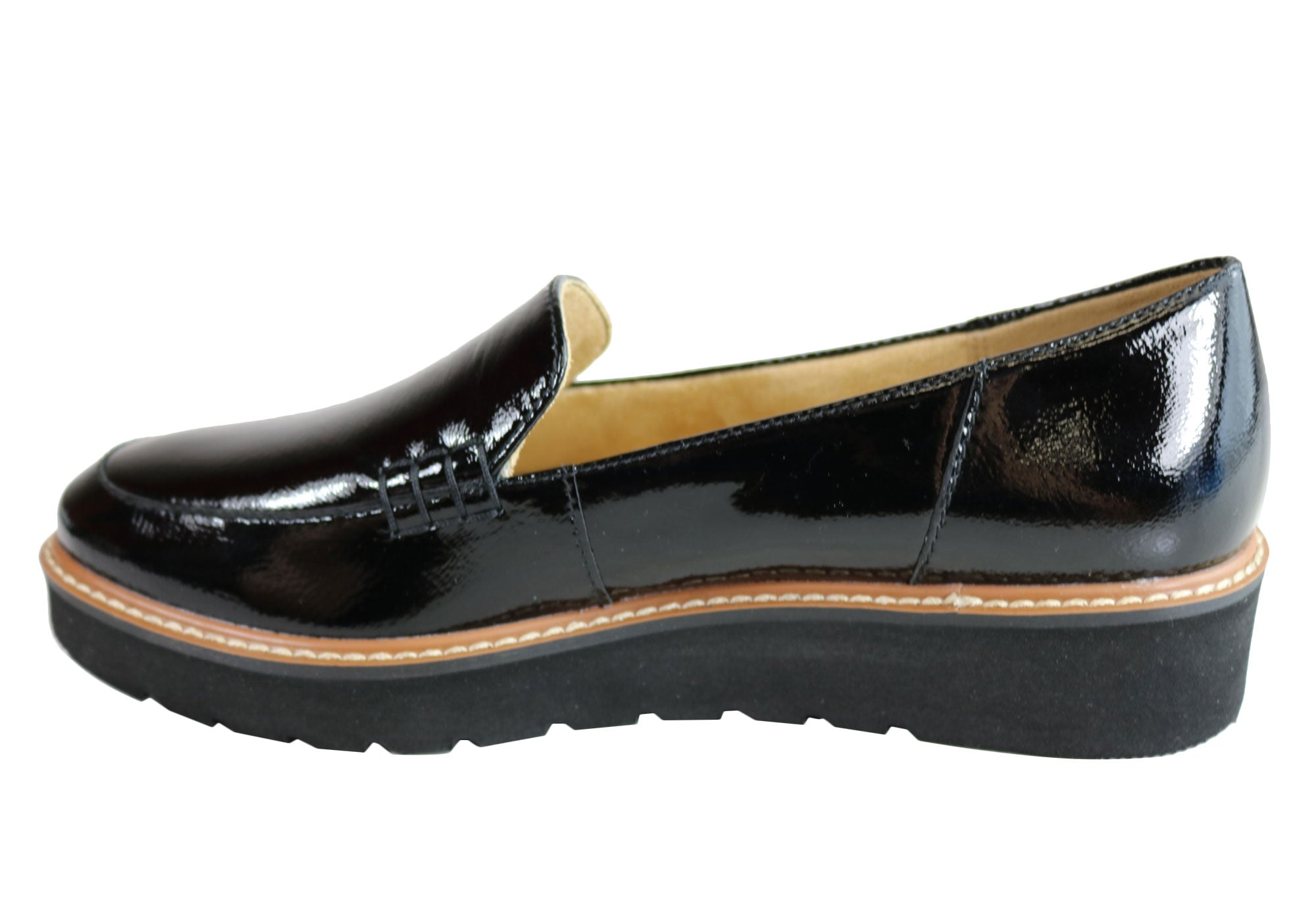 981033faa50 Home Naturalizer Andie Womens Comfortable Platform Patent Loafer Shoes. Black  Patent  Black Patent ...