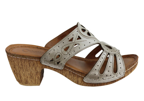 Cabello Comfort Hayley Womens European Leather Mid Heel Slide Sandals