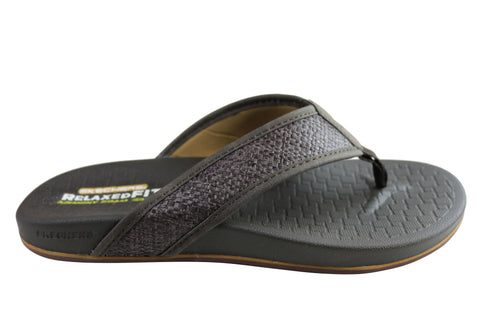 Skechers Pelem Wesker Mens Relaxed Fit Memory Foam Comfortable Thongs