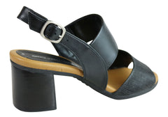 Gino Ventori Getty Womens Comfortable Leather Mid Heel Sandals