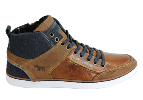 Wild Rhino Hartwood Mens Leather High Top Casuals Made In Portugal