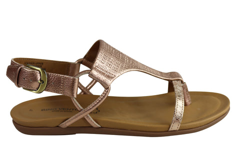 Gino Ventori Soho Womens Comfort Leather Flat Sandals Made In Brazil
