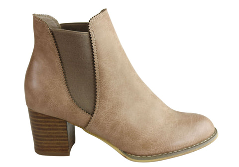 Isabella Brown Sofia Womens Comfortable Fashion Mid Heel Chelsea Boots